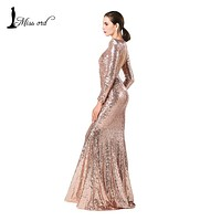 MISSORD 2016 Sexy long sleeve halter sequin maxi dress FT4182