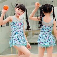 Two Peices Baby Kids Cartoon Swimsuits Princess Girls Swimming Skirts Children Bath Hot Spring Swimwear Cute Lovely Swimsuits