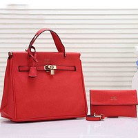Hermès Women Fashion Leather Satchel Shoulder Bag Handbag