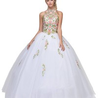 High Neck Embroidered Quinceanera Dress White
