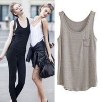 Sleeveless Tank  Top With Single Chest Pocket