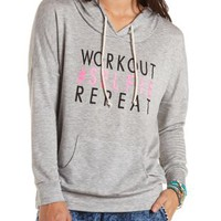 Workout Selfie Graphic Hoodie by Charlotte Russe - Gray