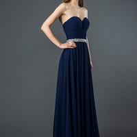 E121 Long Chiffon Bridesmaid or Prom Dress with Jeweled Waistline