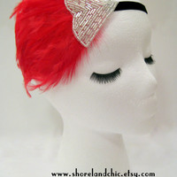 The Irene - red feather 1920s fascinator, burlesque headdress, red flapper hair piece, bright red fascinator, red burlesque costume