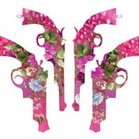 Bright pink and floral handgun fabric by the yard