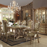 Acme Vendome Gold Collection 8 Chairs Dining Set + Buffet