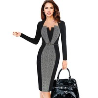 Vintage Slim Work Office Business Party Bodycon Dress