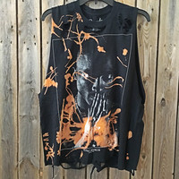 TUPAC X Large, concert tee, band shirt bleached, distressed shirt