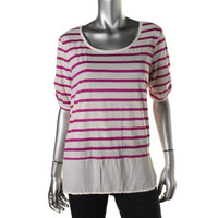 Style & Co. Womens Linen Blend Hi-Low Pullover Top