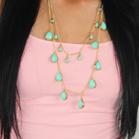 Spring Raindrops Necklace: Mint