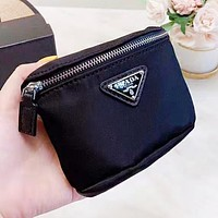 Prada New fashion leather couple wallet purse clutch bag Black