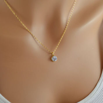 NEW Tiny Druzy Necklace, Gold Filled, Raw Silver Crystal Drusy Pendant, Simple Jewelry, Free Shipping