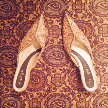 Vintage Royal Embroidered Slip On Indian Shoes || Size 7.5 to 8
