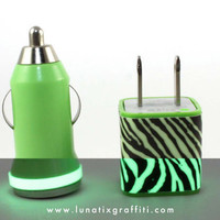 Glow in the Dark iPhone 5 Charger - Zebra Print Wall and Car charger adapters