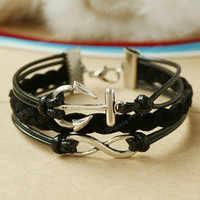 Black bracelet - anchor bracelet  with infinity charm, unique Christmas gift, black infinity for men and women