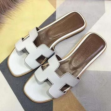 Hermes Women's Leather Sandals Shoes