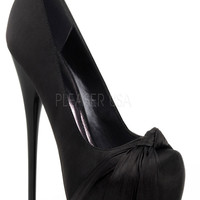 Black Satin Hidden Platform Knotted Pump Stiletto Heel