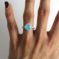 1.07 Carat Ethiopian Blue Opal & White Diamond Halo Ring in 14k White Gold October Ring (7379)