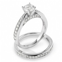 Macie's Small Carat Cubic Zirconia Sterling Silver Engagement Ring Set