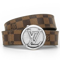 Louis Vuitton LV Classic Popular Woman Men Chic Circular Buckle Belt Leather Belt With Box