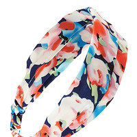 FOREVER 21 Watercolor Floral Headwrap Blue/Cream One
