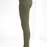 RES Denim Harry's Hi Olive Green High-Waisted Skinny Jeans