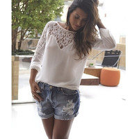 New Women's Fashion Elegant Long Sleeve O-Neck Casual Loose Lace Chiffon Tops Shirt Blouse F_F (Size: XL, Color: White) = 1904233732