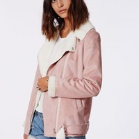 Missguided - Bliss Faux Suede Shearling Coat Pink