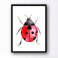 Ladybird watercolor painting insect boy kid nursery lady bug decor print wall art fun men gift red beetle artwork square 6x6 4x6 24x36