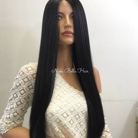 SALE Black Silky Straight Human Hair Blend Deep Parting Lace Front Wig -  Keann 61017 6***(E35)
