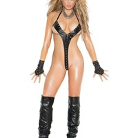 Leather string teddy trimmed in grommets *Available Boxed Black