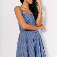 Kimchi Blue Abby Gauze Button-Down Fit + Flare Dress- Blue XS