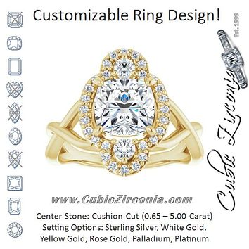 Cubic Zirconia Engagement Ring- The Josemaria (Customizable Vertical 3-stone Cushion Cut Design Enhanced with Multi-Halo Accents and Twisted Band)