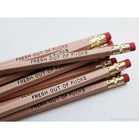 Fresh Out Of Fucks Pencil Set in Natural Wood | Set of 5 Funny Sweary Profanity Pencils