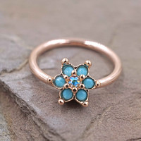 Rose Gold Rook Daith Hoop Turquoise Flower