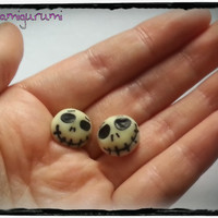 Jack Skellington earrings charm chibi, glow in darkness, in polymer clay from Nightmare before Christmas movie - Halloween gift