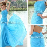 2013 Fascinating Blue Mermaid Prom Dress With Crystals And Sequins - iLovebridal.co.uk