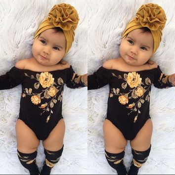 US 3PCS Newborn Baby Girl Off Shoulder Flower Romper+Leg Warmers Outfits Clothes
