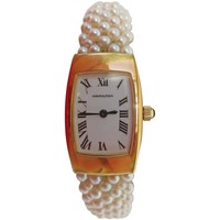 Hamilton Ladies Yellow Gold Woven Multi Strand Pearl Band Wristwatch