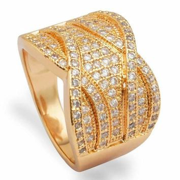Vintage French Braid Micro Pavé Set Cubic Zirconia Cocktail Ring