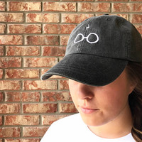 Inspired by Harry Potter glasses and lightning bolt scar dad hat, baseball hat