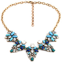 Women Crystal Colorblocked Faux Stone Necklace