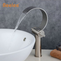 Brushed Nickel Waterfall Basin Bathroom Vessel Sink Faucet Single Handle Hot and Cold Water Mixer Tap