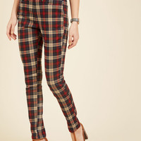 Slow and Edgy Wins the Race Pants in Red Plaid | Mod Retro Vintage Pants | ModCloth.com