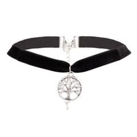 Casual Velvet Tree Pendant Choker Necklace