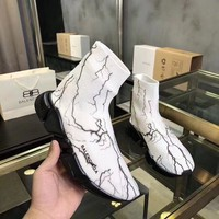 Balenciaga Speed Trainers In White Knit And Black Sole Unit Reference #10704
