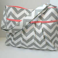 The Monterey Diaper Bag Medium - In Grey Chevron And Salmon Pink - Adjustable Strap and Elastic Pockets