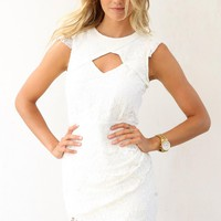 White Lace Dress with Cutout Detail and Cap Sleeves