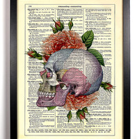 Colorful Skull and Red Roses 8 x 10 Upcycled Dictionary Art Vintage Book Print Recycled Vintage Dictionary Page Buy 2 Get 1 FREE