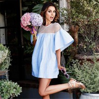 Patchwork Hot Sale Summer Women's Fashion Hollow Out One Piece Dress [11677693583]
